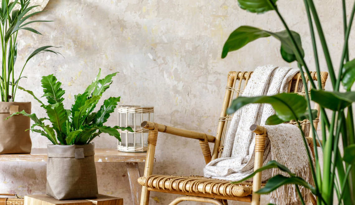 Neutral,Composition,Of,Living,Room,Interior,With,Rattan,Armchair,,A